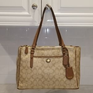 Coach Peyton Signature Double Zip Carryall Tote
